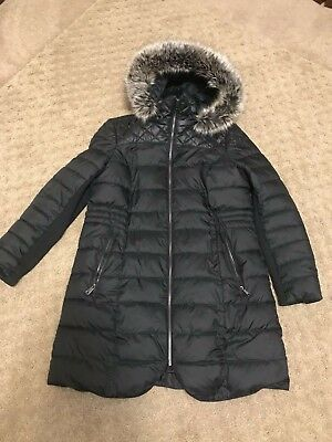 f1332a14e4 Womens Apt. 9 Black Puffer Faux Fur Hooded Warm Long Jacket SIze Large (L