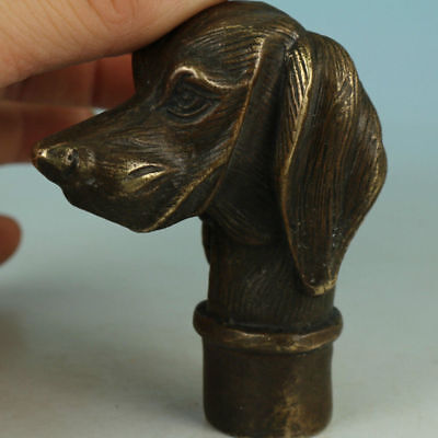 Asian Old Bronze Dog Collect Statue Walking Stick Head