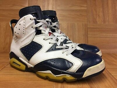 newest 2fd24 39f4b RARE🔥 Nike Air Jordan 6 VI Retro Olympic Midnight Navy White Sz 9 384664-