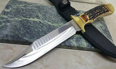 Ridge Runner Faux Stag Handle Fixed Blade Bowie Knife with Sheath