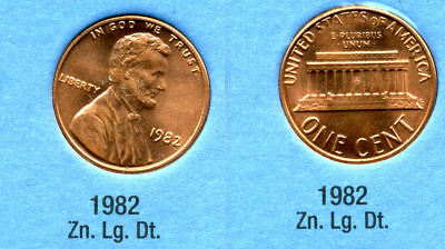 1982 P Lincoln Memorial LARGE DATE ZINC PENNY 1 CENT US AMERICA ONE COIN #B1