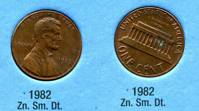 1982 P Lincoln Memorial SMALL DATE ZINC PENNY 1 CENT US AMERICA ONE COIN #B1