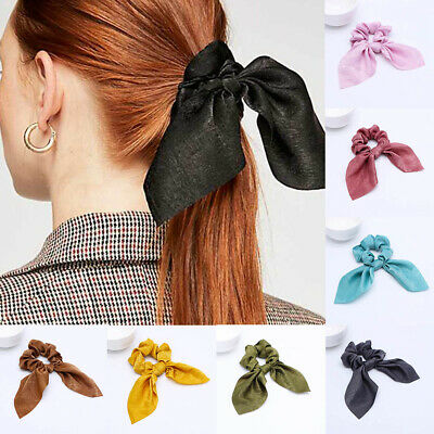 Premium Satin Ribbon Bow Scrunchies Hair Ring Stretch Hair tie Ponytail Holder