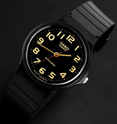 Casio MQ24-1B2 Men's Analog Watch Classic Black with Gold Numbers NEW Free Ship