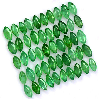 Natural Emerald Marquise Cut 4x2 mm Lot 25 Pcs 2.01 Cts Untreated Loose Gemstone