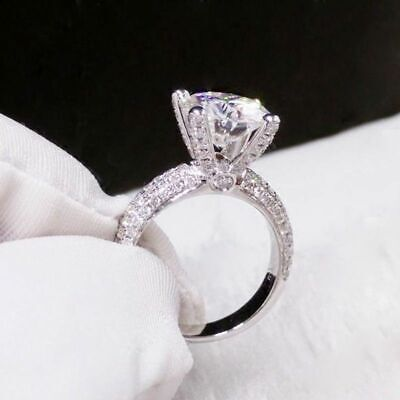 2.20Ct Round VVS1 Diamond Solitaire Engagement Ring Solid 14K White Gold Finish