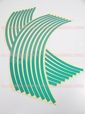 "Rim Stickers wheel stripe tapes 14"" Green for motorcycle 14 inches green"