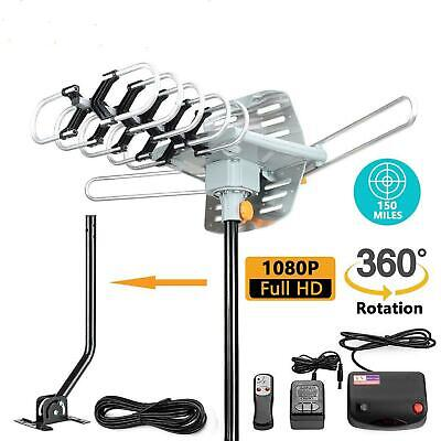 HDTV Amplified Digital HD TV Antenna 200 Miles 360 Rotation Outdoor + Pole