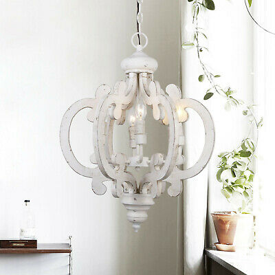 6 Lights Wood Chandelier Crown Hanging Fixture Light Ceiling Lamp, Antique White