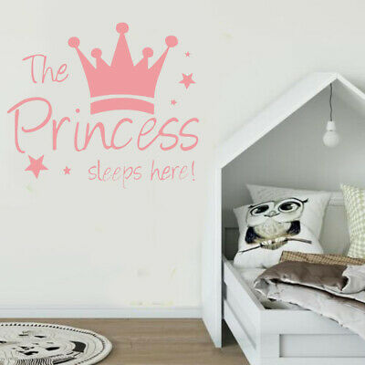THE PRINCESS SLEEPS Here Crown Wall Sticker Art Decal Mural For Baby