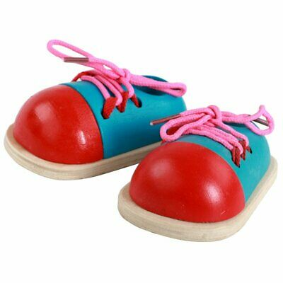 Wooden Lacing Shoes Kids Educational Lacing Tie Shoelaces Learning Toy KS
