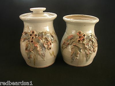 2 AUSTRALIAN ALKOOMI POTTERY Ceramic JARS Kitchen Storage Pots Moulded GUMNUTS