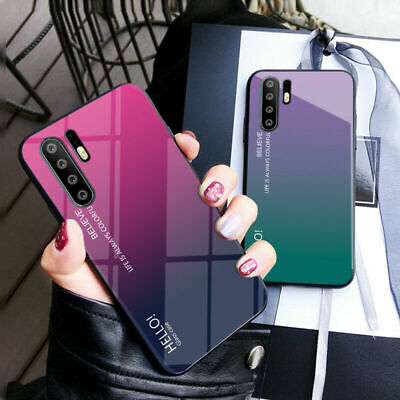 For Huawei P30 Pro P Smart 2019 Nova 4 Gradient Tempered Glass Back Case Cover