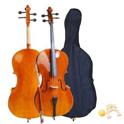 New 4/4 Full Size Professional Sound Natural Color Cello +Bag+Bow+Rosin+Bridge