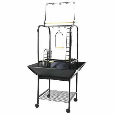 Large Pet Parrot Play Stand Bird Cage Gym Perch w/ Feed Cup Rolling Caster 142CM
