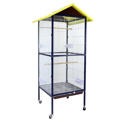 Large Stand-Alone Parrot Pet Budgie Canary Aviary Bird Cage On Wheels Apex Roof