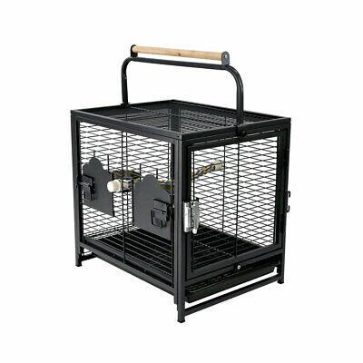 Portable Bird Cage Alloy Pet Travel Carrier Perch Feeder Parrot Parakeet Supply