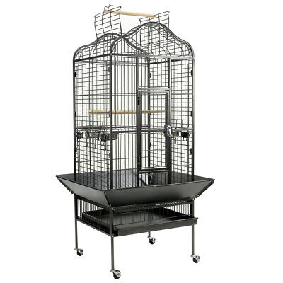 Large Parrot Cage Metal Bird Cage Carrier House Open Roof Macaw Cockatoo W Stand