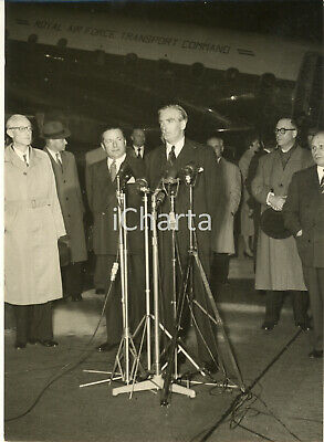 1954 Aeroporto di GINEVRA Sir Anthony EDEN in conferenza stampa - Foto 13x18 cm