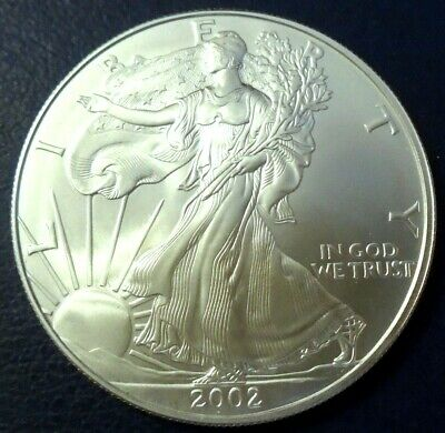 USA 2002 One Dollar Eagle, 1 troy ounce of pure silver + capsule - top grade