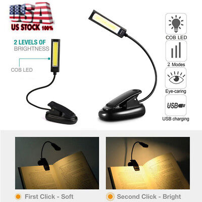 Flexible USB Clip-On COB LED Light Reading Table Book Lamp Rechargeable US