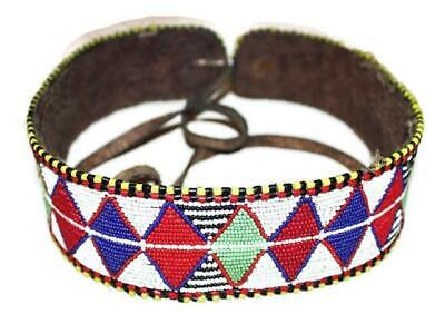African Antique Maasai Masai Beaded Ethnic Tribal Beaded Leather Belt - Ke 01