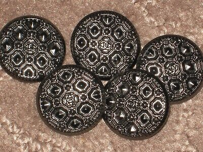 CHANEL  5 dark  SILVER METAL  CC LOGO FRONT  BUTTONS  18 MM / 3/4''  LOT 5
