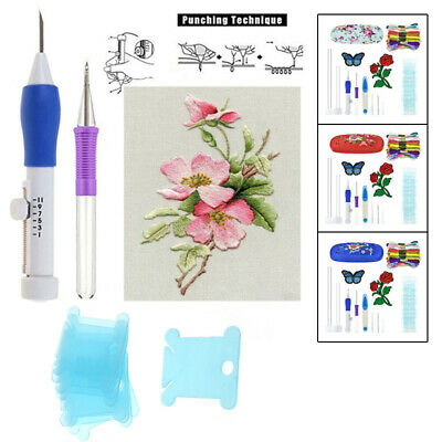 Embroidery Needlework Kit Pen Punch Thread With Storage Box DIY Craft Practical