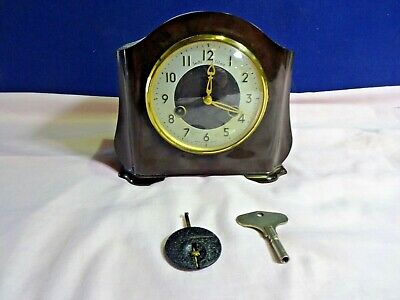 Vintage Smiths Of Enfield Bakelite Mantel Clock Working Condition