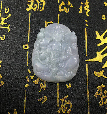 Buddhism Natural By Hand Carving Pendant Sculpture Gift Jadeite Bodhisattva Jade