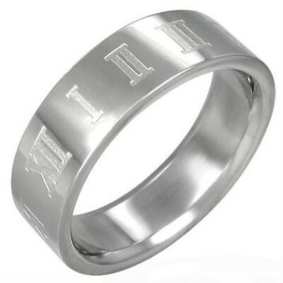 316L Surgical Stainless Steel Roman Numeral Band Ring