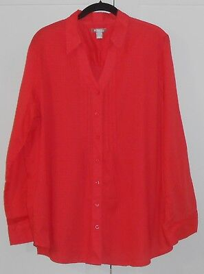 e7d76fe3a Women's White Stag Orange Woven L/s Split Neck Button Down Blouse/size Xxl
