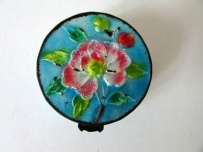 Antique Chinese Old Bronze Enamel Pill Snuff Trinket Box