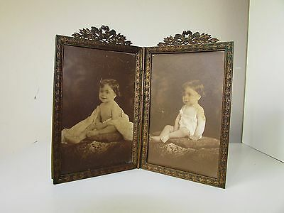 Antique Very Old French Massive Bronze Hinged Double Picture Frame