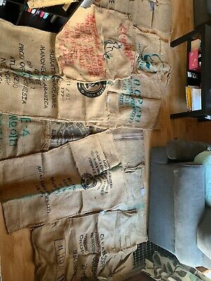 Lot Of 10 Large Coffee Bean Burlap Gunny Bags Sacks Used Brasil Top Cut Garden