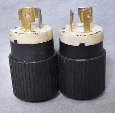 2 Count Hubbell Bryant Twist Turn Lock Connector Power Plugs NEMA L5-15 15A 125V