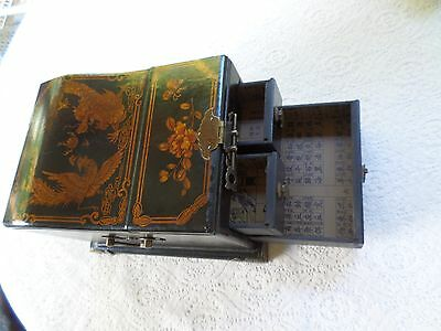 SALE Antique Oriental Hand-Painted Jewelry Box - Mirror 3 Drawers & Metal Pulls