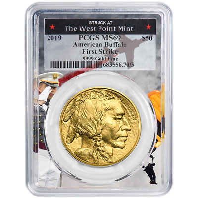 2019 $50 American Gold Buffalo PCGS MS69 First Strike West Point Frame