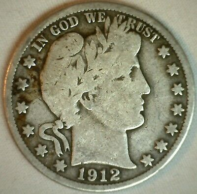 1912 D Barber Silver Half Dollar 50 Cent US Type Coin Good K