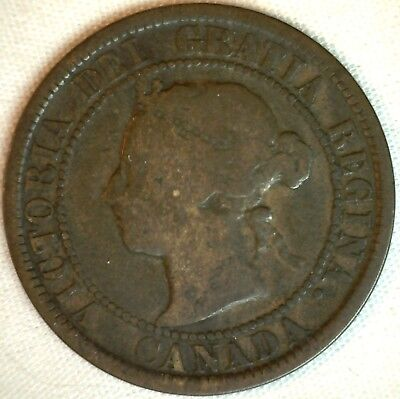 1884 Copper Canadian Large Cent One Cent Coin VG #2