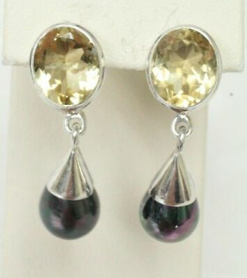"INDIA 925STER Post Back 1 3/8"" Dangle Earrings W/Citrine Color & Dyed Faux Pearl"