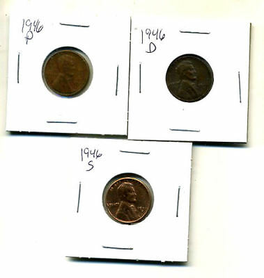 1946 P,d,s Wheat Pennies Lincoln Cents Circulated 2X2 Flips 3 Coin Pds Set#1378