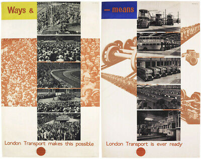 2x LONDON TRANSPORT Original Vintage Poster Plakat, 1938