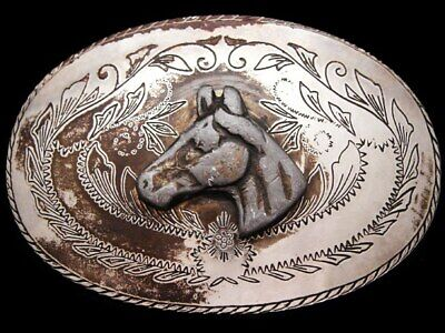 IL25125 RUGGED VINTAGE 1970s **HORSE HEAD** OVAL WESTERN BELT BUCKLE