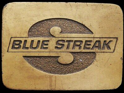 IJ31168 VINTAGE 1970s **BLUE STREAK TECHNOLOGY** IGNITION PARTS BRASSTONE BUCKLE