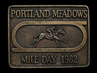Nc07111 Vintage 1982 **Portland Meadows Mile Day** Horse Racing Sports Buckle