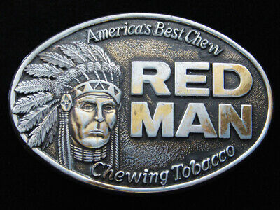 Rg01142 Vintage 1988 **America's Best Chew Red Man Chewing Tobacco** Belt Buckle