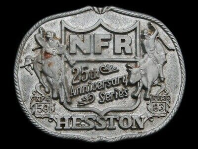Nb19116 Vintage 1983 **Hesston Nfr 25Th Anniversary Series** Rodeo Buckle