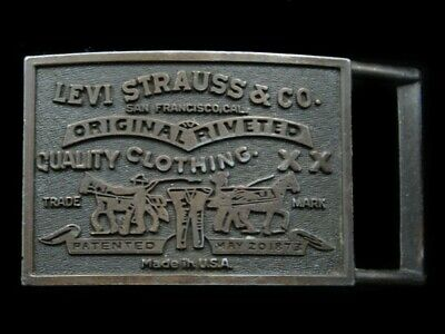 RK05104 VINTAGE 1970s **LEVI STRAUSS & CO. CLOTHING** ADVERTISEMENT BELT BUCKLE