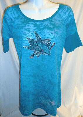 TOUCH by Alyssa Milano Teal San Jose Sharks Sequin Semi Sheer Shirt ~ Size Large